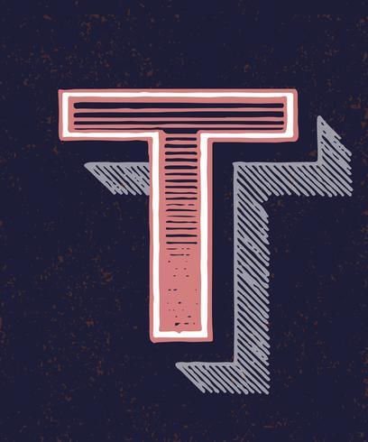 Huvudstämpel T vintage typografi stil