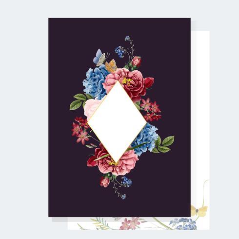 Blommig inbjudningskort mockup illustration