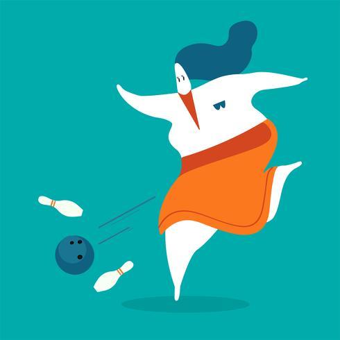 Illustrazione del carattere di una donna che gioca a bowling