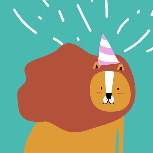 León en un estilo de dibujos animados con un vector de sombrero de fiesta
