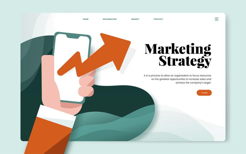 Graphique de site web informatif de stratégie marketing