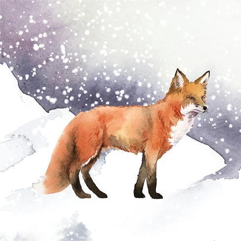 Handgezeichneter Fuchs im Schnee-Aquarell-Stil