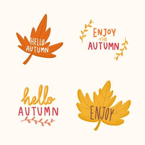 Conjunto de ilustração de folhas de outono