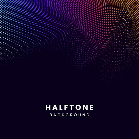 Vibrant halftone on black background vector
