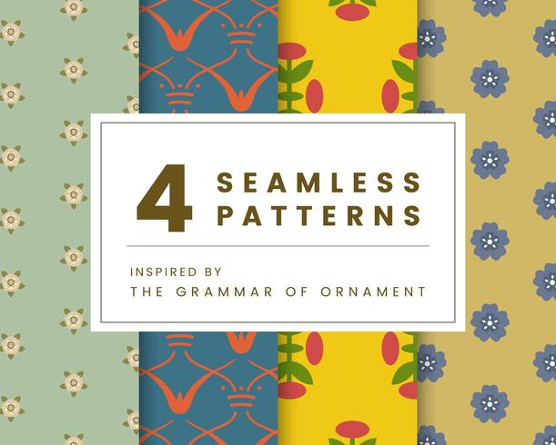 Set di 4 modelli vintage ispirati a The Grammar of Ornament