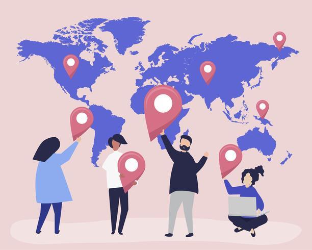 Tecken på personer med karta och GPS-markörs illustration