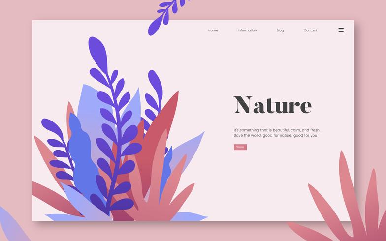 Grafica di sito Web informativo di natura e piante
