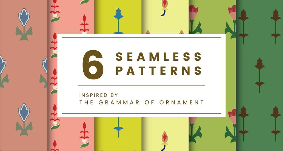 Set of 6 vintage patterns inspired by The Grammar of Ornament