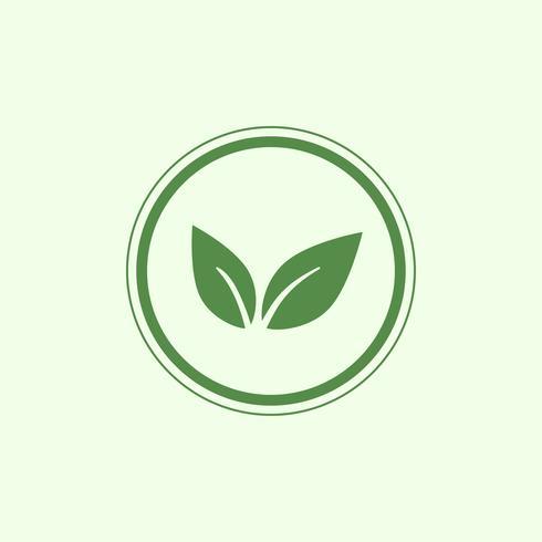 Grön vegan logo vektor i en cirkel