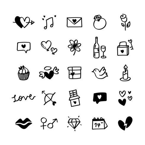 Verzameling geïllustreerde Valentijns pictogrammen