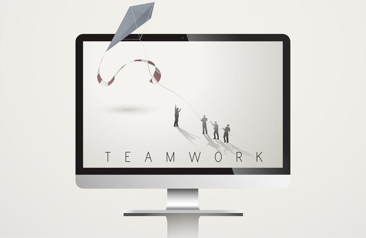 Ilustração, de, negócio, equipe trabalho