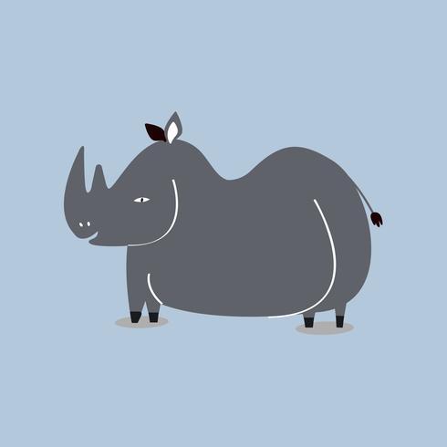 Gullig vild noshörning tecknad illustration