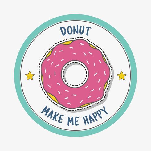 Donut maakt me blij vector
