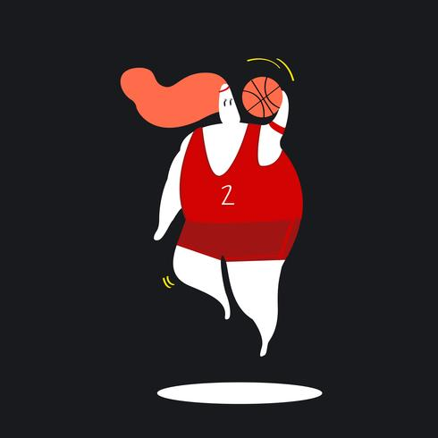 Personagem, ilustração, de, um, femininas, jogador basquetebol