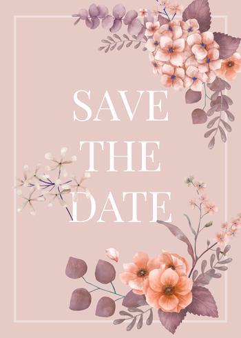 Roze thema bloemenhuwelijkskaart