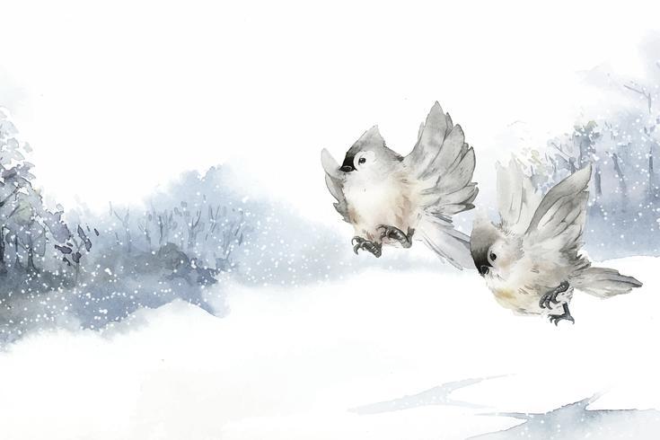 Main dessinée oiseaux touffus Méstère en vecteur d'hiver