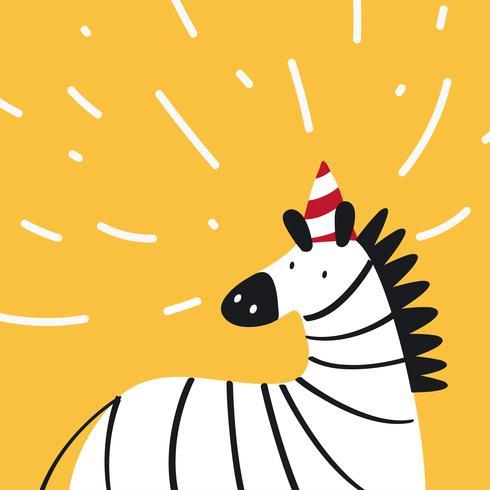 Leuke zebra die een partijhoed in een vector van de beeldverhaalstijl draagt