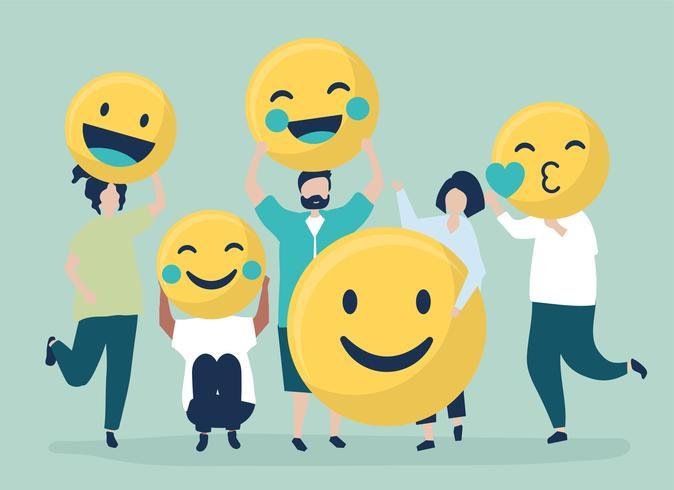 Personagens de pessoas segurando ilustração de emoticons positiva