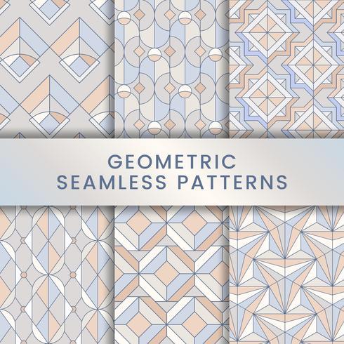 Colorful pastel geometric seamless patterns set