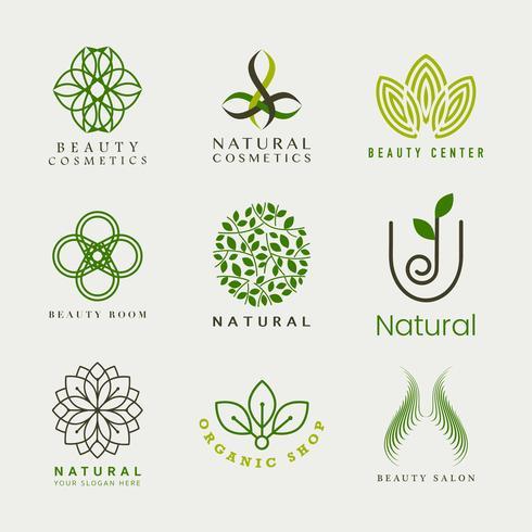 Ensemble de vecteur de logo de cosmétiques naturels