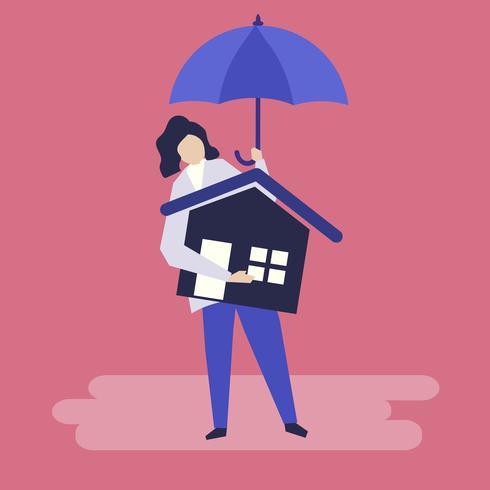 Caractère d'une femme et illustration de concept d'assurance habitation
