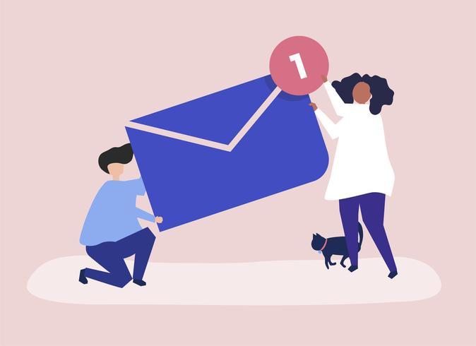 Carattere di una coppia in possesso di un nuovo messaggio illustrazione