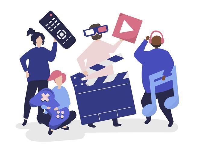 Personajes de personas sosteniendo iconos multimedia ilustración