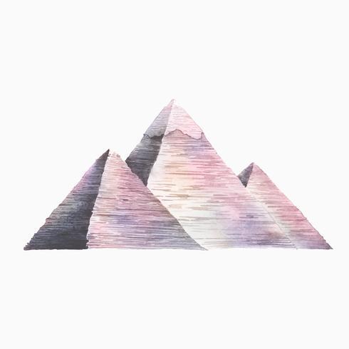 Den stora pyramiderna i Giza målad med akvarell