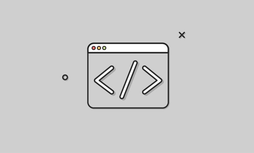 Ilustración de codificación de diseño web.