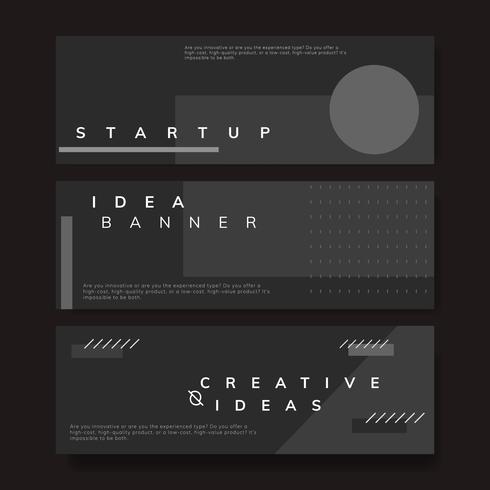 Set of minimal Memphis start-up ideas banner vector