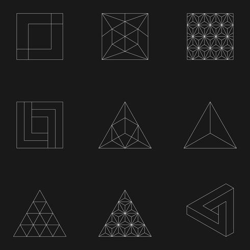Lineaire illustratie van geometrische vormen