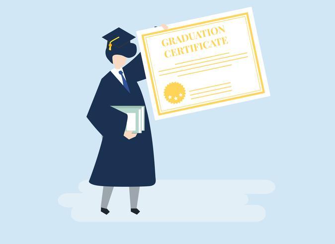 Karaktär av en examen med en examensbevis illustration