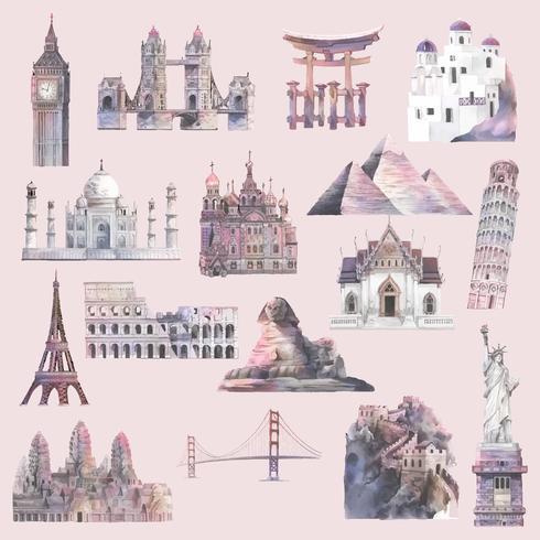 Samling av arkitektoniska landmärken målat med akvarell vektor