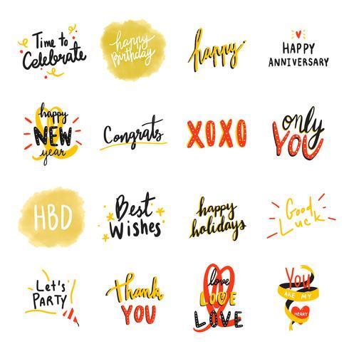 Collection de typographies festives colorées