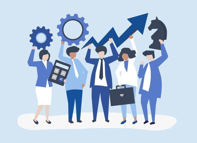 Geschäftswachstum und Strategiekonzeptillustration