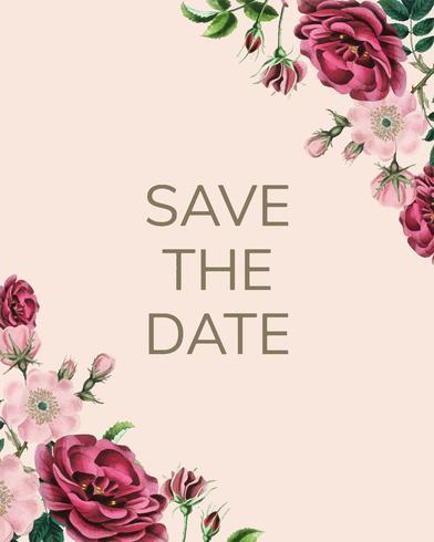 Salvar la fecha con diseño floral vector.