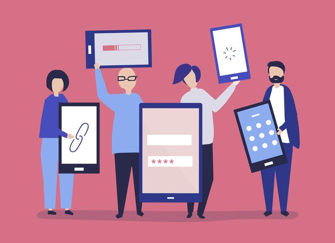 Characters of people holding giant digital devices illustration