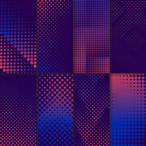 Conjunto de vectores de fondo de semitono púrpura y rosa
