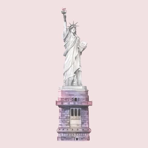 La estatua de la libertad pintada por acuarela.