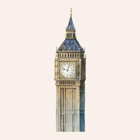 Le Big Ben peint à l'aquarelle
