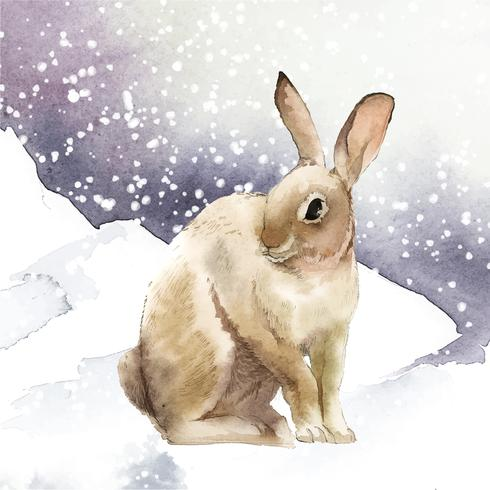 Wild brown rabbit in a winter wonderland painted by watercolor vector