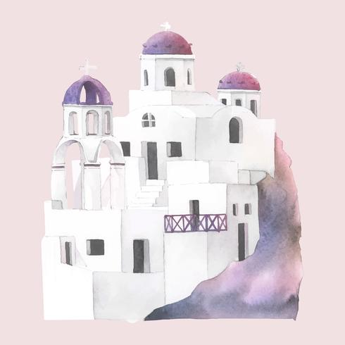 Illustration aquarelle de Santorin Cycladic Houses