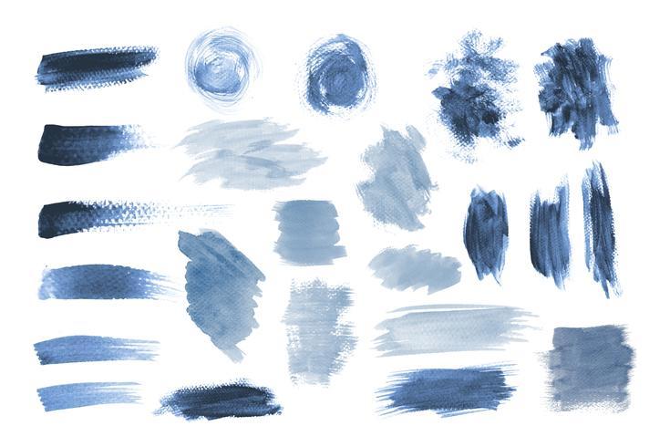 Blauwe aquarel set