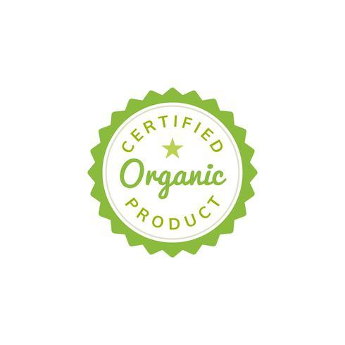 Certified organic product stamp emblem illustration