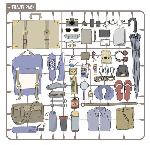 Ilustración del embalaje de viaje aislado