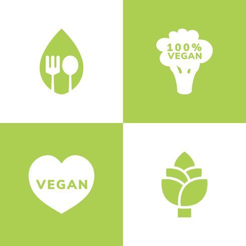 Collection of vegan icon vectors
