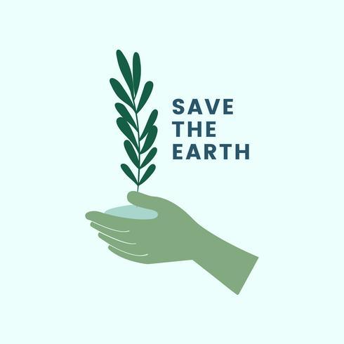 Red de aarde en ga groen pictogram