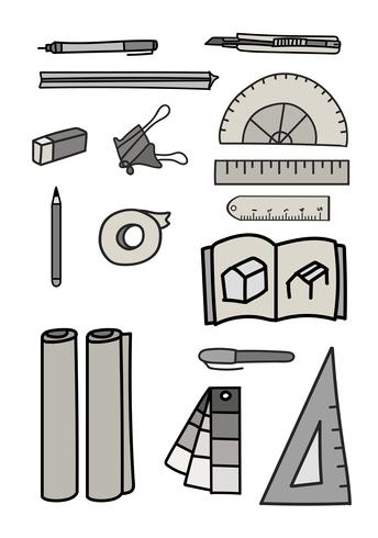 Vektor uppsättning brevpapper doodle stil