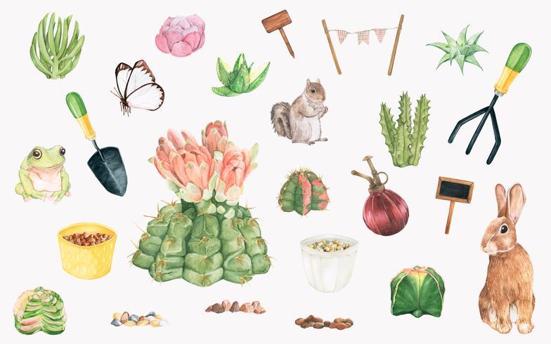 Handgezeichnete Gartenobjekte und Pflanzen