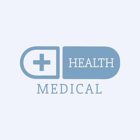 Blue medical health care capsule symbol vector